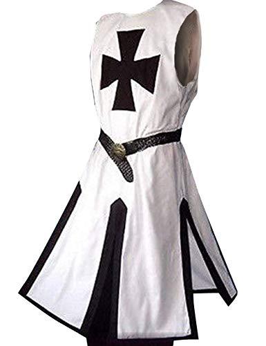 Fueri Disfraz medieval de caballero templario adulto guerrero túnica imperio traje cosplay...