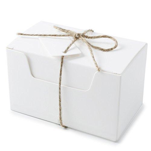 SurePromise Scatoline Carta Etichette Spago,50 Pezzi Scatole Bomboniere Portaconfetti Matrimonio Feste Battesimo 10 x 6 x 6 cm