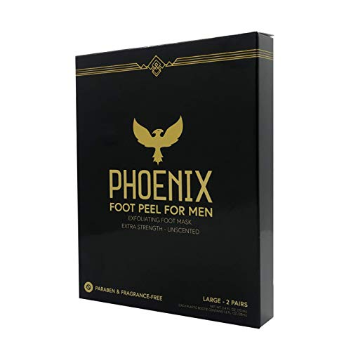Foot Peel Mask for Men - Large - Extra Strength - Exfoliating Dry Feet Treatment - 2 Pack - Callous Remover - Unscented - Baby Soft Feet - Paraben and Fragrance Free - PHOENIX