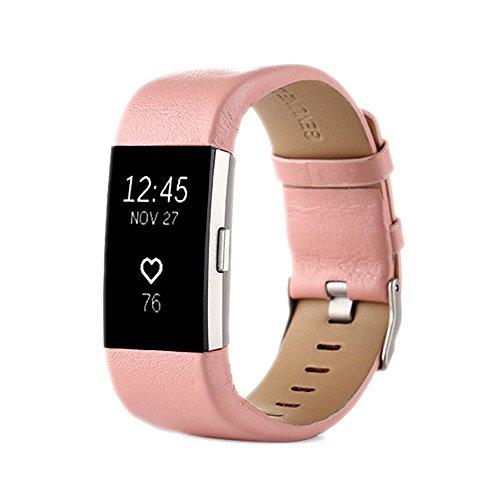 PINHEN für Fitbit Charge 2 Armband - Charge2 Echte Leder Armbänder Unisex Ersatzband mit Metall Konnektoren Fitbit Charge 2 (Pink)