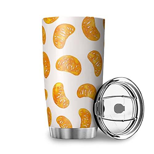 Buweirezhi Tazza da caffè a forma di arancia, 20 oz con linguetta, isolata sottovuoto, in acciaio inox, per auto, ufficio, scrivania, casa, bianco, 600 ml