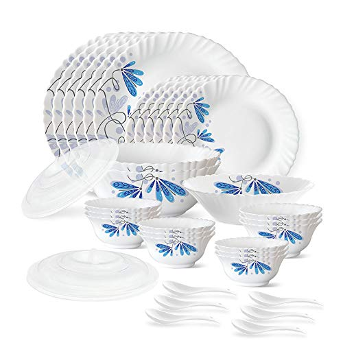 Larah by Borosil Twilight Silk Series Opalware Dinner Set, 35 Pieces, White