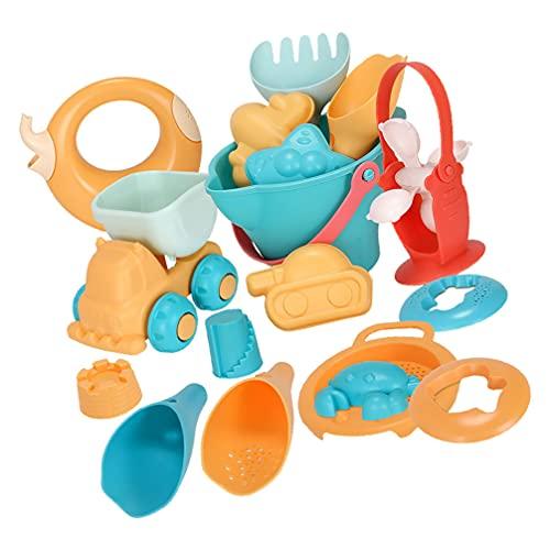 Tomaibaby 17 Piezas Juego de Juguetes de Playa para Niños Juego de Arena Castillo Cubo Animales Moldes Palas de Plástico Tamiz Colorido Verano Herramientas para Niñas Y Niños