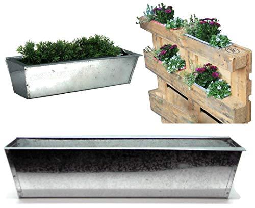 Bada Bing 2er Set Pflanzkasten für Palette Verzinktes Metall Blumenkasten Zink Einsatz für Europalette Pflanzschale Pflanztopf Kräuterkasten Deko Garten Trend 47