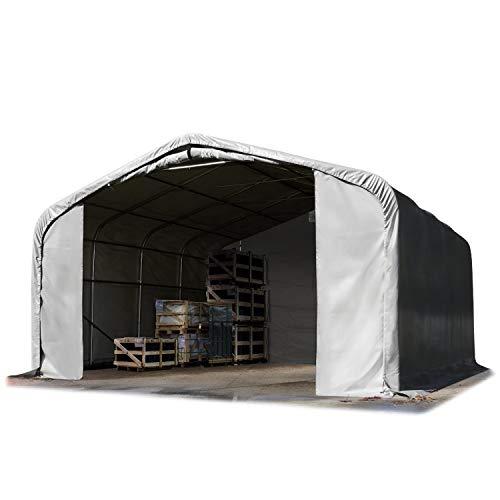 TOOLPORT Lagerzelt 6x6 m Zelthalle ca. 550 g/m² PVC Plane grau 100{0a20552a7b5cc689ad9f692ff059e4a5798cfda7903e27c6efcc97e8bf9d03d7} wasserdicht