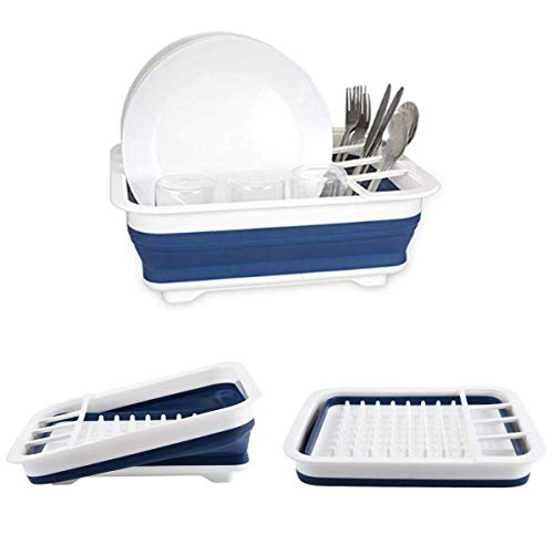dish drainer for campers Collapsible Dish Drying Rack with Drainer Board Set Portable Dish Drainers for Small Kitchen Camper RV Caravan Travel Trailer (Blue)