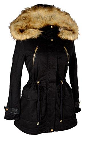 Italy Donna Damen Windbreaker Winter Kapuze Militäry Parka warm mit Fell GEFÜTTERT Jacke Mantel warm 36 38 40 42 44 S M L XL Schwarz Anorak Winterjacke (38)
