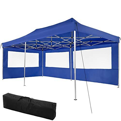TecTake 800687 Carpa de Jardín 6 x 3m, Plegable, Aluminio, 100% Impermeable, 2 Paneles Laterales, con Cuerdas Tensoras, Piquetas y Bolsa (Azul | no. 403160)