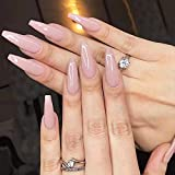 Vogee Fashion Glossy Solid Color 20 Pcs Extra Long Press On Fake Nails Tips Removable Wear Acrylic Stick on False Nail Tips for Women Girls (Nude)