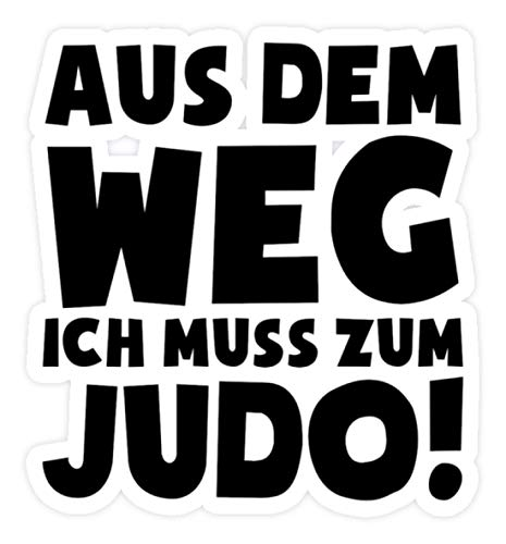 shirt-o-magic Aufkleber Judoka: Ich muss zum Judo - Sticker - 20x20cm - Weiß