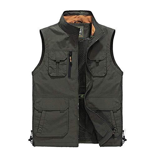 Lato męska kamizelka na co dzień rybołówstwo, fotografia, płaszczyk outdoorowy, moda męska, rewers, bez rękawów, odzież wierzchnia, kurtka, zielony, 3XL