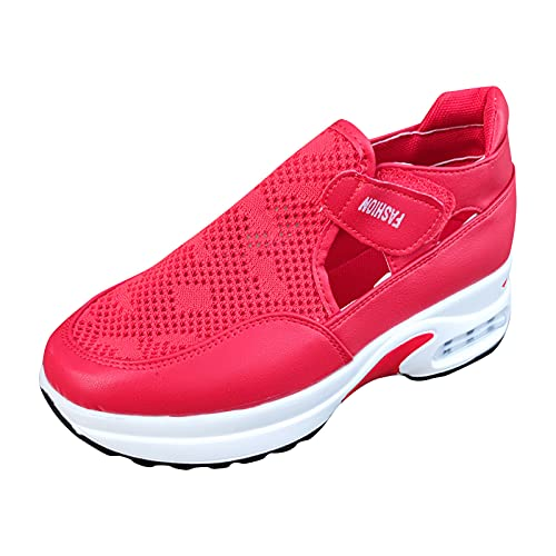 URIBAKY - Zapatillas de running para mujer, con malla a la moda, transpirables, zapatillas de running en carretera, al aire libre, running, fitness, transpirables, Rojo (rojo), 42 EU