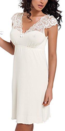 R-Dessous exklusives Nachtkleid Sleepshirt Damen Viskose Spitze Nachtwäsche Nachthemd mit Träger, Herstellergroesse XL (42), Creme / Ecru
