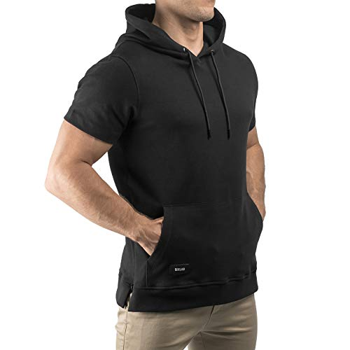 Sixlab Short Sleeve Kurzarm Hoodie Herren Kurzärmeliger Muscle Fitness Kapuzenpullover Gym (M, Schwarz)