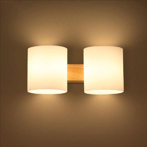Modeen Einfache moderne Massivholz-Wandleuchte Kreative japanische Trommeln Glas Lampenschirm Wandleuchte für Wohnzimmer Gang Treppenhaus Balkon Schlafzimmer Nachttisch (Size : Double head)