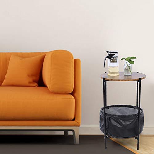 Mesa auxiliar redonda de café de hierro forjado, mesa redonda para sofá, mesa auxiliar de salón, mesa auxiliar con cesta de almacenamiento de tela, 59,8 x 32,7 cm