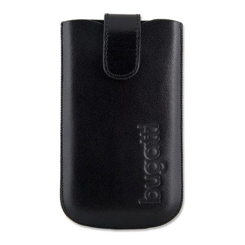bugatti Ledertasche SlimCase leather passend zu Apple iPhone 4, iPhone 4S, iPhone 4 S/4G, Leder Tasche, schwarz (black)