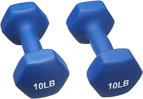 Amazon Basics Neoprene Coated Dumbbell Hand Weight Set, 10-Pound, Set of 2, Navy Blue