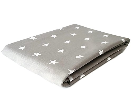 3 Meter lang 100% Baumwollgewebe - Weiße Sterne auf Grau - 300cm x 160cm