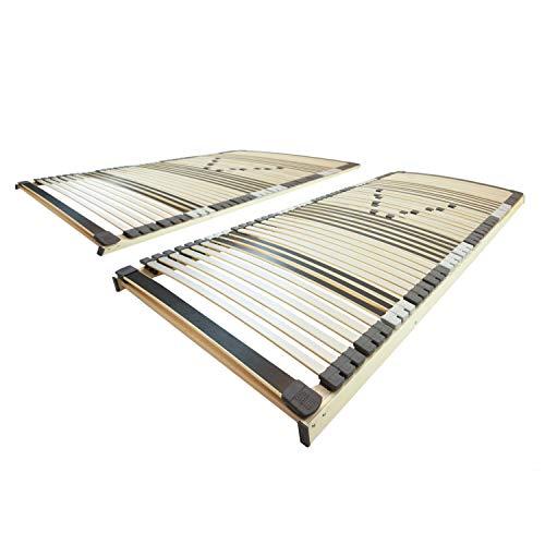AM Qualitätsmatratzen Ergonomischer 7-Zonen Lattenrost - 160x200 cm - fertig montiert - 44 Leisten - NV Starr - Holmabsenkung für Schulter und Becken - 160x200cm