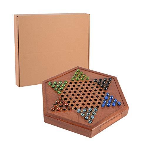 JuneJour Juego de damas chinas de madera, juego de estrategia clásica para todas las edades, juegos de sociedad en bolas de cristal, juego de puzle clásico (marrón, 34 cm con cassete)