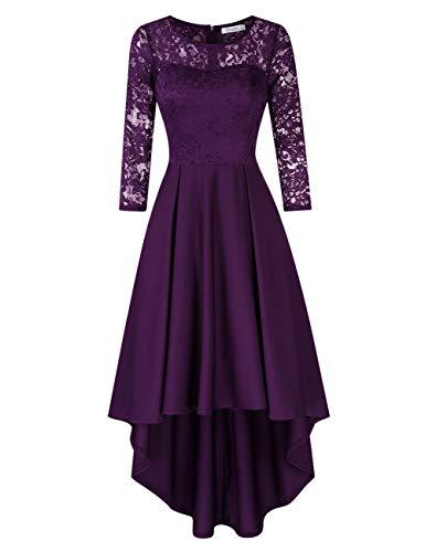KOJOOIN Damen Abendkleider/Cocktailkleid/Brautjungfernkleider für Hochzeit Unregelmässiges Kurzespitzenkleidangarm Grape,XL