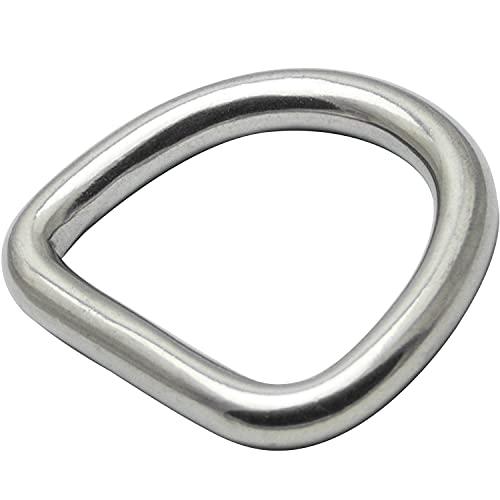 OPIOL QUALITY® D-Ring Geschweißt und Poliert 4x30 mm aus Edelstahl A4 V4A (4 Stück) Halbrundring Halbring D Ringe Stahlring Halbringe Rundring Karabiner