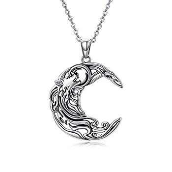 POPKIMI Sterling Silver Wolf Necklace Wolf Jewelry Crescent Howling Wolf Pendant Necklace Jewelry for Wolf Lover Girls Women Sister Mom Friend Birthday Gift  Celtic Wolf Necklace for Women