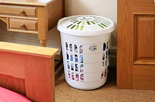 funky gadgets Deluxe Round Plastic Laundry Basket Hamper 60L Washing...