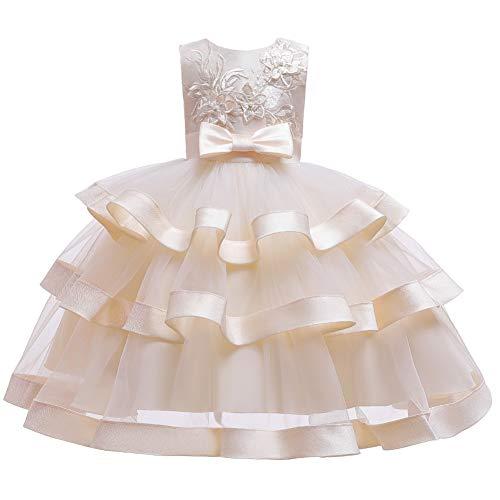 E-girl Abito da bambina in tulle, per festa di compleanno, da principessa, per matrimoni, C5703 gold 140 cm