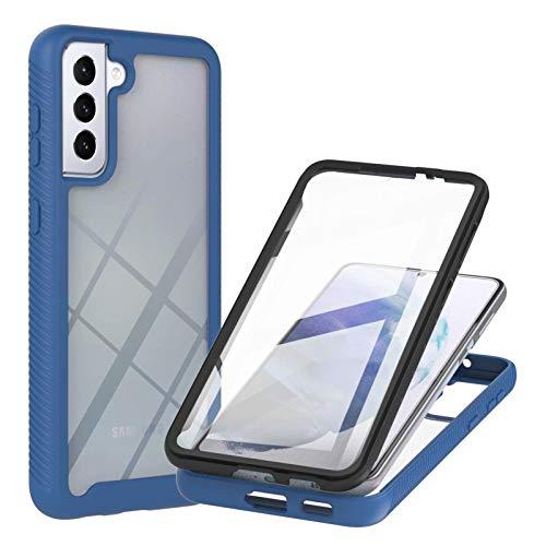TTNAO Funda para Samsung Galaxy S21 5G,Absorción de Golpes Suave Ultrafino Anti-rasguños Prima Pet Membrana Templada Anterior CaseProtección de Todo el Cuerpo Cover,Azul