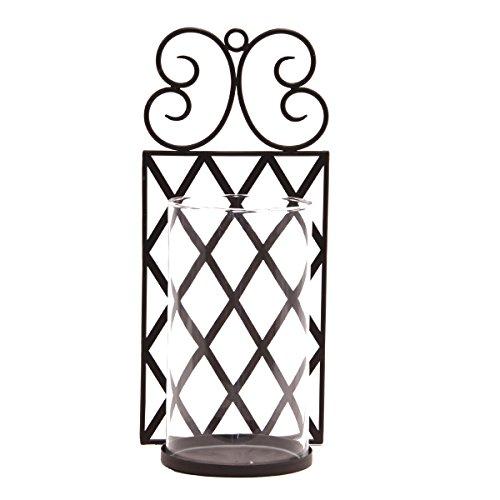 Varia Living Kerzenwandhalter Lora Metall mit Glaszylinder für tolle Lichtreflexe | Wanddeko aus Metall | Accessoire für Wohngestaltung | Kerzenhalter Vintage aus Eisen in schwarz | 45 cm x 20 cm