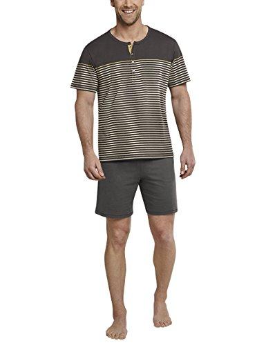 Schiesser Herren Anzug kurz m. Knopfleiste Zweiteiliger Schlafanzug, Braun (Gold 306), Small (Herstellergröße: 048)