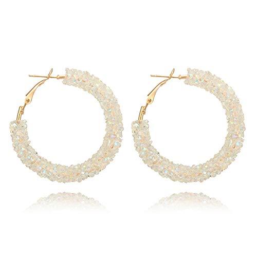 BLINGBRY Helix Ear Oorbel van kristal, voor dames, grote cirkels van roestvrij staal, rond, met oorbellen in de vorm van een bruidssieraad, wit