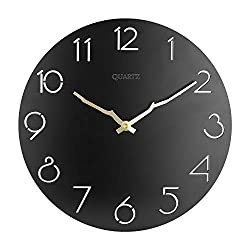 OURISE 12 Inch Vintage Round Wooden Wall Clock,Silent & Non-Ticking Home Decorative Wall Clock,Easy to Read Home/Office/Classroom/School Rustic Clock,Battery Operated(03)