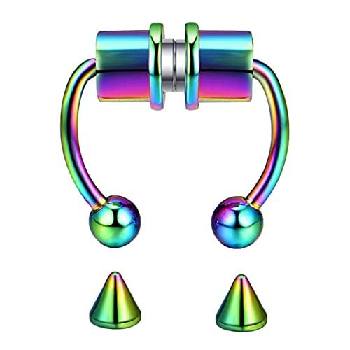 YUTEN Anillos magnéticos para la Nariz del tabique - 1/5 Piezas de Acero Inoxidable Falsos Anillos de Herradura magnéticos para la Nariz del tabique con Puntas de Repuesto - Faux Piercing Premium