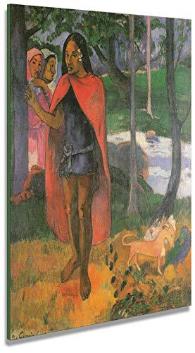 Artenòr Gemälde Gauguin Paul Figur mit roter Haube (Hexe von Hiva oa) 1902 – Druck auf Leinwand gedruckt – 77 x 100 cm