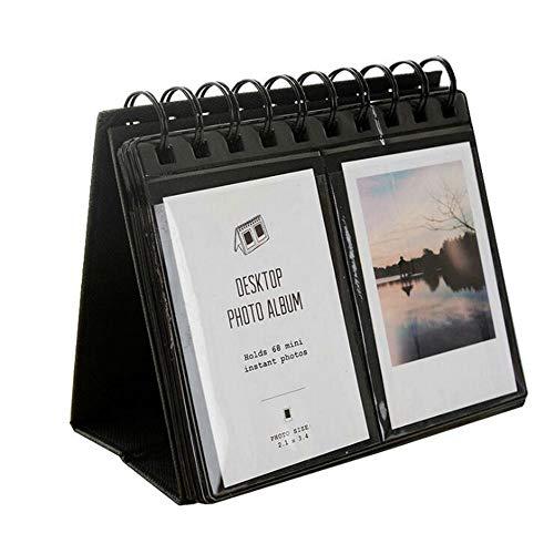 JUNICON 64 Poches Album Photo de Bureau pour Fujifilm Instax Polaroid Mini 7s 8 50s 25 26 70 90 / Snap Touch/Zip Imprimante instantanée/Polaroid Snap Zip Z2300 PIC-300 Film (Noir)