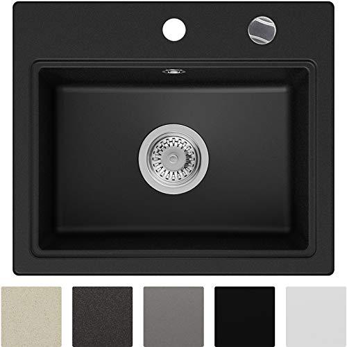 Granitspüle Schwarz 51 x 43,5 cm, Spülbecken + Siphon Automatisch, Küchenspüle ab 50er Unterschrank in 5 Farben mit Siphon und Antibakterielle Varianten, Einbauspüle von Primagran
