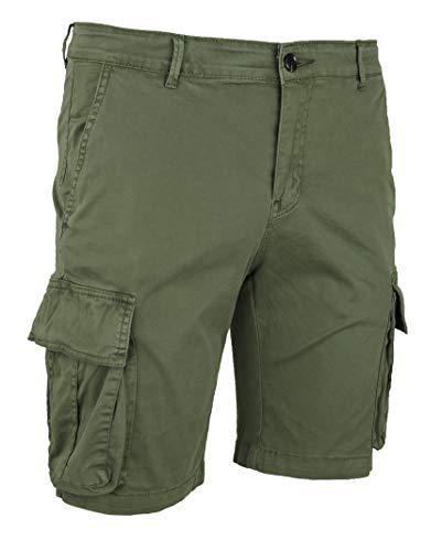 Evoga Jeans Pantaloni Corti Uomo Cargo Denim Casual con tasconi Laterali (52, Verde)