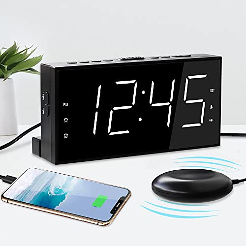 Extra Loud Dual Alarm Clock with Bed Shaker for Bedroom,Vibrating Alarm Clock for Deep Sleeper,Hard of Hearing & Deaf People,Snooze USB Charger,7' Clear LED Display with DST,Battery Backup,Easy to Set