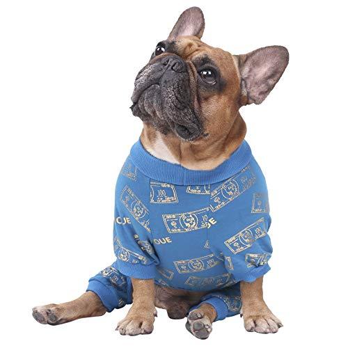 ICHOUE Rich Dog Series Pet Clothes Pajama Jumpsuit PJS Shirt French Bulldog Pug Boston Terrier T-Shirt - Blue Money M