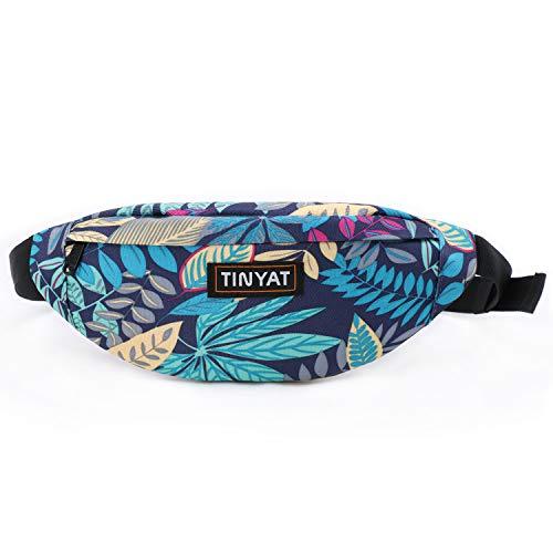 Tinyat Travel Fanny Bag Waist Pack Sling Pocket Super Lightweight For Travel Cashier's box, Tool Kit T201 (Blue Leaf)