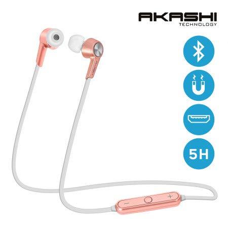 Akashi Bluetooth-hoofdtelefoon, stereo, HD, bluetooth, geluidsbescherming, met microfoon, draadloos, in-ear hoofdtelefoon, zeer comfortabel, met afstandsbediening voor hardlopen, gym, joggen en sporten Rose Champagne