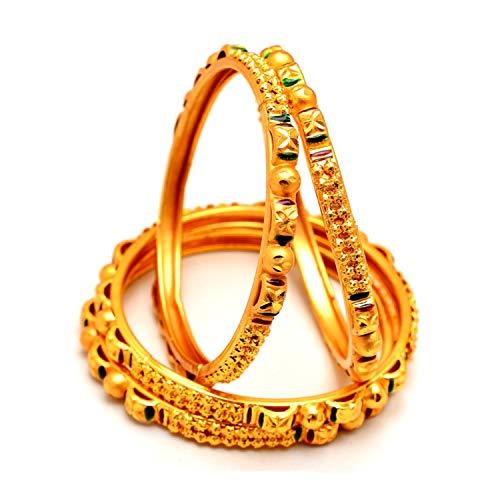 Zewar 7507 Armreif 4 Stück Designer One 2 Gramm Gold-Finish Kundan Ad Edelstein Schmuck