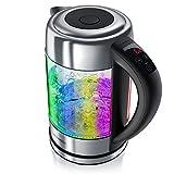 Arendo – Bollitore elettrico in acciaio inox e vetro con regolazione della temperatura e illuminazione LED multicolore - 1,7l - 40° 70° 80° 90° 100 °C - Funzione Sterilizza - GS – BPA free