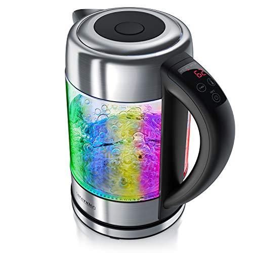 arendo - Hervidor de Agua 1,7 litros - 5 Temperaturas Regulables de 40° a 100 ° con iluminaciones LED - Acero Inoxidable - Filtro antical extraíble - Apago automático - Protección sobrecalentamiento