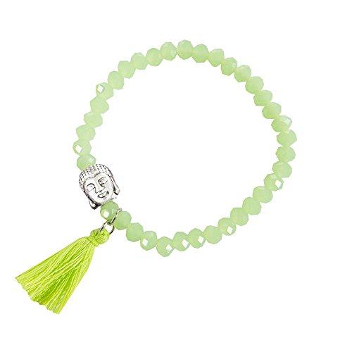 Kiss Me! Topmodel Ibiza Hippie Indianer Markt Damen Elastisches Armband Buddha Anhänger (Grün)