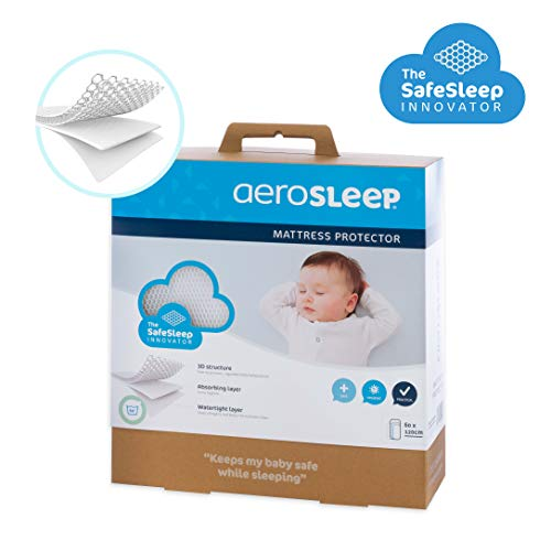 AEROSLEEP - Protège matelas Sleep Safe - Permet à votre enfant de respirer librement - Stucture 3D alvéolée - 117 x 68cm - Blanc