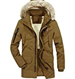 YONGM Men Faux Fur Hooded Cotton Padded Parka Outerwear Coats Jacket 2 S